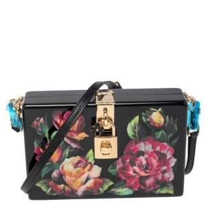Dolce & Gabbana Black Wood Floral Box Clutch