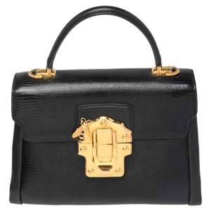 Dolce & Gabbana Lizard Embossed Leather Small Lucia Top Handle Bag