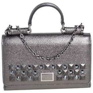 Dolce & Gabbana Metallic Leather Miss Sicily Von Studded Wallet on Chain