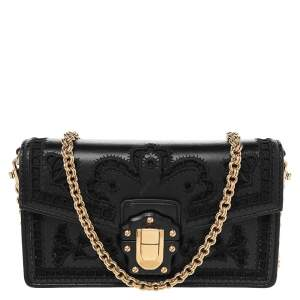 Dolce & Gabbana Black Leather Mini Lace Embroidered Lucia Shoulder Bag
