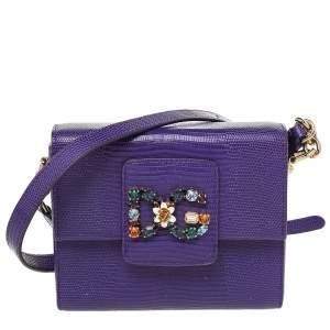 Dolce & Gabbana Purple Lizard Embossed Leather DG Millennials Shoulder Bag