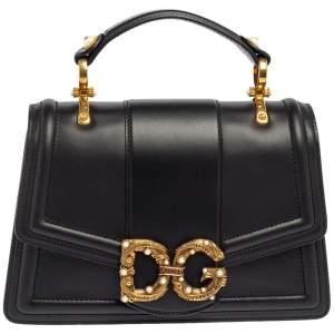 Dolce & Gabbana Black Leather DG Amore Top Handle Bag