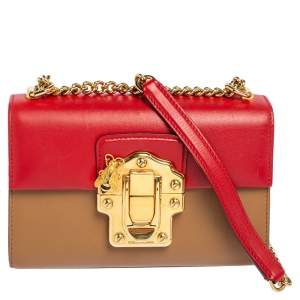 Dolce & Gabbana Beige/Red Leather Lucia Chain Shoulder Bag