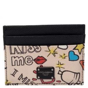 Dolce & Gabbana Multicolor Graffiti Print Leather Card Holder