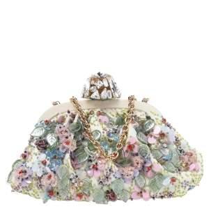 Dolce & Gabbana Off White Embellished Canvas Crystal Lock Frame Bag