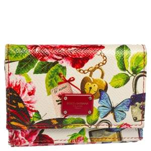 Dolce & Gabbana Multicolor Butterfly Print Leather Trifold Wallet