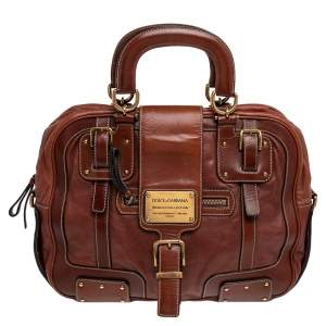 Dolce & Gabbana Brown Leather Miss Easy Way Satchel