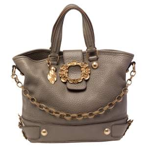 Dolce & Gabbana Olive Green Grained Leather Metal Logo Flap Tote