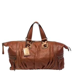 Dolce & Gabbana Brown Pleated Leather Duffel Travel Bag