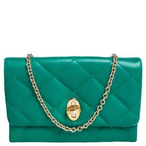 Dolce & Gabbana Green Quilted Leather Flap Clutch