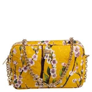 Dolce & Gabbana Yellow Floral Print Fabric Miss Glam Crossbody Bag