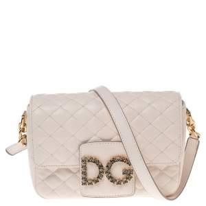 Dolce & Gabbana White Quilted Leather Millennials Shoulder Bag
