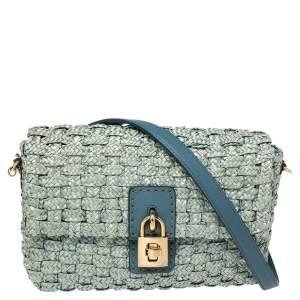 Dolce & Gabbana Blue Woven Raffia and Leather Padlock Shoulder Bag