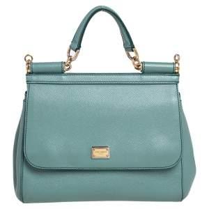 Dolce & Gabbana Pale Green Leather Medium Miss Sicily Bag