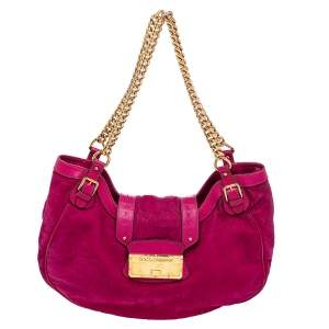 Dolce & Gabbana Pink Suede Chain Shoulder Bag