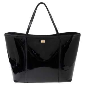 Dolce & Gabbana Black Patent Leather Miss Escape Tote