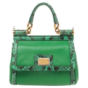 Dolce & Gabbana Green Leather and Python Small Miss Sicily Top Handle Bag
