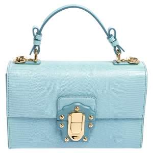 Dolce & Gabbana Light Blue Lizard Embossed Leather Lucia Top Handle Bag