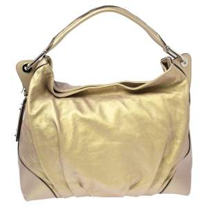 Dolce & Gabbana Metallic Yellow Leather Miss Brooke Hobo