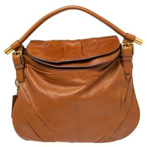 Dolce & Gabbana Brown Leather Top Flap Hobo