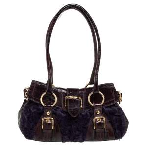 Dolce & Gabbana Purple/Brown Patent Leather and Faux Fur Buckle Embellished Satchel