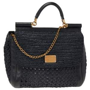 Dolce & Gabbana Black Woven Raffia and Leather Large Miss Sicily Top Handle Bag