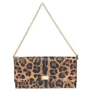 Dolce & Gabbana Brown/Black Leopard Print Coated Canvas Flap Chain Clutch