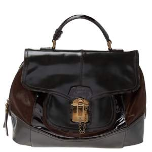 Dolce & Gabbana Brown/Black Calf Hair And Patent Leather Satchel