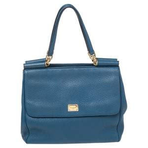 Dolce & Gabbana Blue Grained Leather Miss Sicily Tote