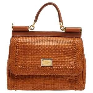 Dolce & Gabbana Tan Woven Leather Medium Miss Sicily Top Handle Bag