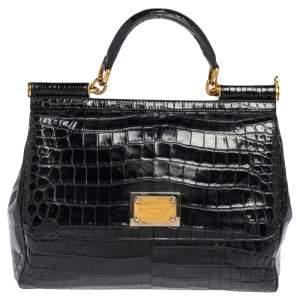 Dolce & Gabbana Black Crocodile Large Miss Sicily Top Handle Bag
