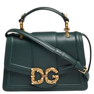 Dolce & Gabbana Green Leather DG Amore Top Handle Bag