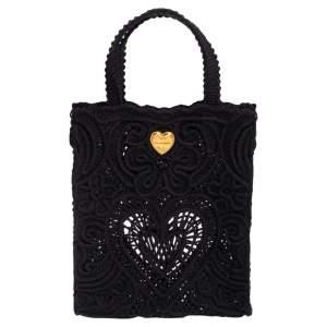 Dolce & Gabbana Black Crochet Fabric Small Beatrice Tote