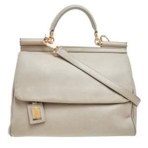 Dolce & Gabbana Beige Leather Large Miss Sicily Top Handle Bag