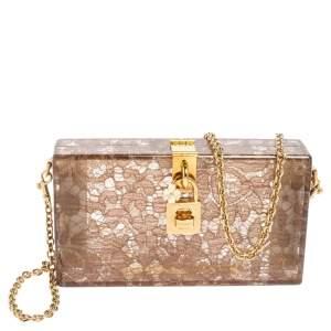 Dolce & Gabbana Brown Acrylic Lace Dolce Box Bag