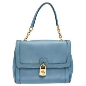 Dolce & Gabbana Blue Leather Padlock Top Handle Bag