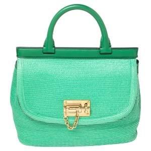 Dolce & Gabbana Green Coated Raffia and Leather Miss Monica Top Handle Bag