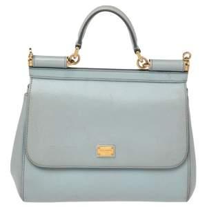 Dolce & Gabbana Powder Blue Leather Medium Miss Sicily Top Handle Bag