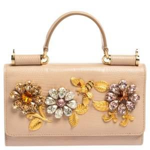 Dolce & Gabbana Beige Lizard Embossed Leather Sicily Von Crystals Smartphone Bag