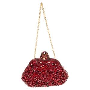 Dolce & Gabbana Red Crystal Embellished Lace and Python Frame Chain Clutch