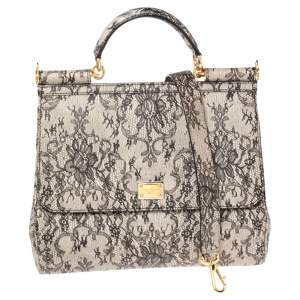 Dolce & Gabbana Grey Lace Print Leather Large Miss Sicily Top Handle Bag