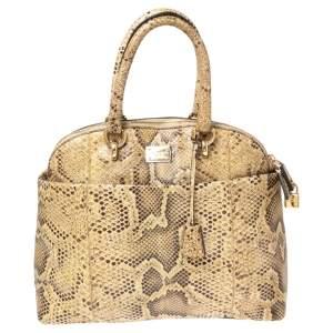 Dolce & Gabbana Beige Python Megan Dome Satchel
