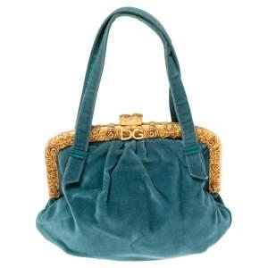 Dolce & Gabbana Teal Velvet Frame Clutch Bag
