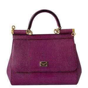 Dolce & Gabbana Plum Lizard Embossed Leather Mini Sicily Bag