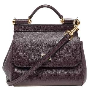Dolce & Gabbana Burgundy Leather Mini Miss Sicily Crossbody Bag