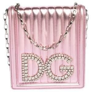 Dolce & Gabbana Metallic Pink Leather DG Girls Shoulder Bag