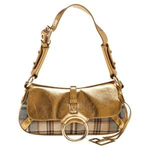 Dolce & Gabbana Gold/Beige Leather And Fabric D-Ring Flap Shoulder Bag