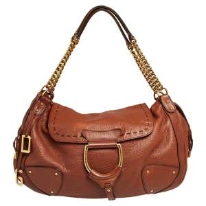 Dolce & Gabbana Brown Leather D Ring Flap Chain Hobo
