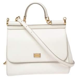 Dolce & Gabbana White Leather Medium Miss Sicily Top Handle Bag