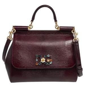 Dolce & Gabbana Burgundy Lizard Embossed Leather Medium Miss Sicily Top Handle Bag
